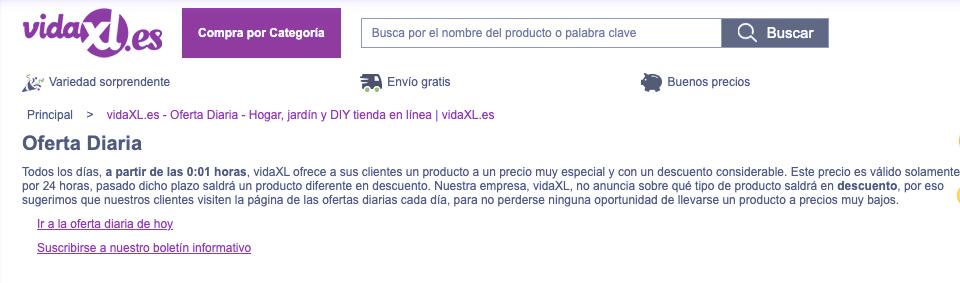 Oferta diaria vidaXL