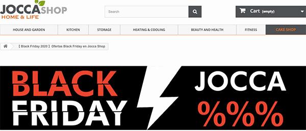 Página de Black Friday en Jocca
