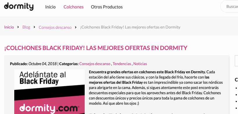 Black Friday en dormity.com